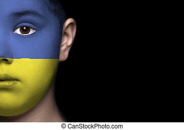emberi arc, festett, noha, lobogó, közül, ukr