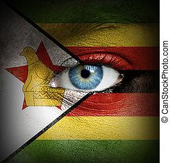 emberi arc, festett, noha, lobogó, közül, zimbabwe