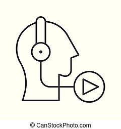 emberi, fejhallgató, video, kihallgatás, podcast, vagy, ikon
