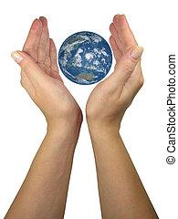 emberi, hölgy, kézbesít, oltalmaz, földdel feltölt földgolyó, elszigetelt, felett, fehér