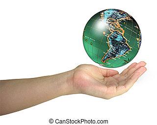 emberi, hölgy, kezezés kitart világ, földgolyó, elszigetelt, felett, fehér