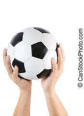 emberi kezezés, emelés, focilabda