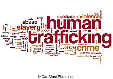emberi, trafficking, szó, felhő