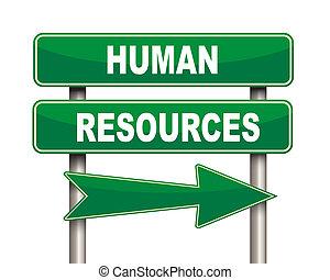 emberi, zöld, erőforrás, út cégtábla