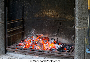 Embers - Barbecue with good embers ready for grill food