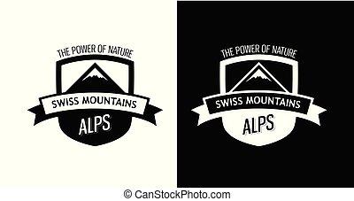 emblème, à, suisse, montagnes