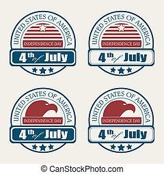 emblème, américain, ensemble, silhouette, drapeau