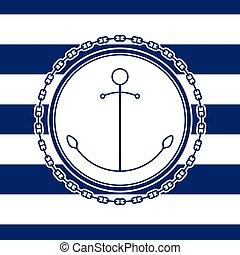 emblème, ancre, mer