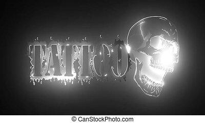 emblème, animation, tatouage, skull., vidéo, studio
