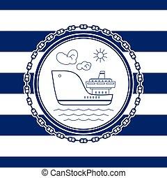 emblème, bateau, mer