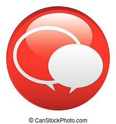 emblème, bavarder, bulles, rond, rouges, icône
