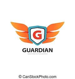 emblème, bouclier, g, gardien, protection, lettre, ailes, logo