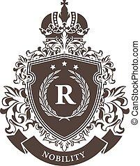 emblème, bouclier, manteau, héraldique, couronne, couronne, bras, impérial, -, laurier, royal