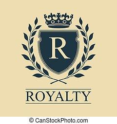 emblème, bouclier, royal, héraldique, couronne, wreath., arms., vecteur, illustration, manteau, laurier