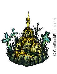 emblème, brûlé, croix, bougies, horreur, cimetière, crânes
