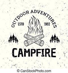 emblème, camping, brûler, vendange, vecteur, monochrome