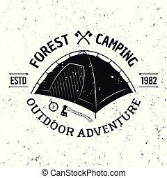 emblème, camping, vendange, vecteur, monochrome, tente