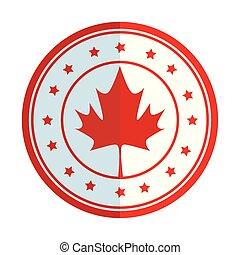 emblème, canadien, étoiles, feuille, érable, circulaire