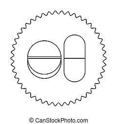 emblème, capsule, et, tablette, icône, image