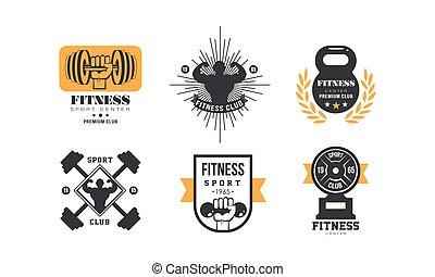 emblème, centre, club, gymnase, illustration, ensemble, vecteur, conception, retro, fond, fitness, prime, blanc, sport, ou, logo