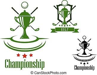 emblème, championnat, bannière, ou, golf