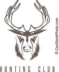 emblème, chasse, vendange, cerf, vecteur, conception, gabarit, canard