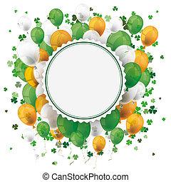 emblème, cloverleafs, patricks st, ballons, jour, vide