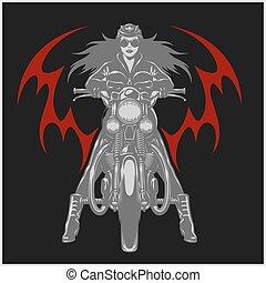 emblème, club, vendange, garage, motocyclette, moteur, sexy,...