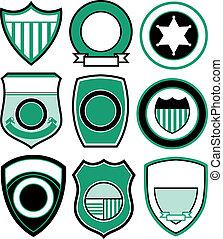 emblème, conception, écusson, bouclier