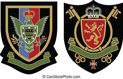 emblème, couronne, écusson, classique