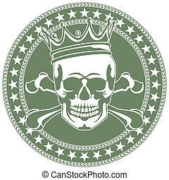 emblème, couronne, crâne