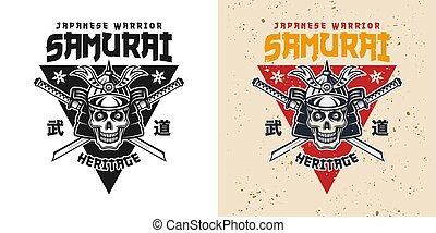 emblème, crâne, épées, katana, samouraï, traversé