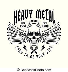 emblème, crâne, cornu, musique, monochrome, ailes