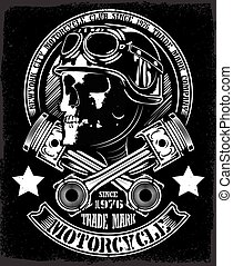 emblème, crâne, vendange, motard, traversé, piston
