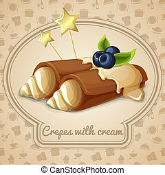 emblème, crêpes, crème