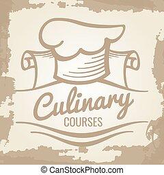 emblème, culinaire, cours, conception, grunge, logo, ou