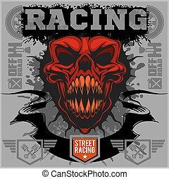 emblème, démon, -, t-shirt, courseautomobile