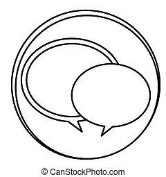 emblème, figure, bavarder, bulles, rond, icône