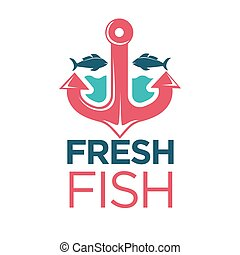 emblème, fish, isolé, illustration, frais, ancre, rouges