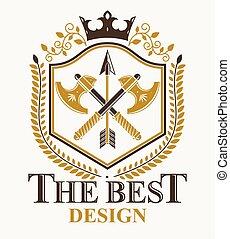 emblème, héraldique, design., vecteur, vendange