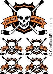 emblème, hockey, crâne