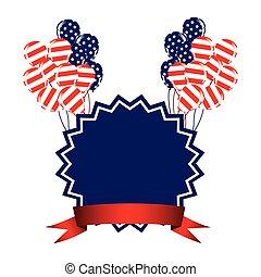 emblème, jour indépendance, à, ballons, et, drapeau, icône