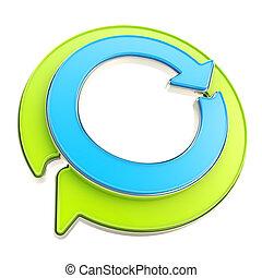 emblème, lustré, flèche, recycler, cercle, rond, icône