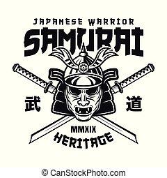 emblème, masque, épées, katana, deux, samouraï, vecteur