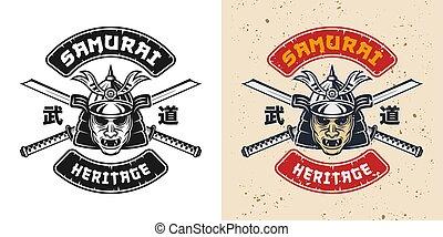 emblème, masque, épées, katana, japonaise, samouraï