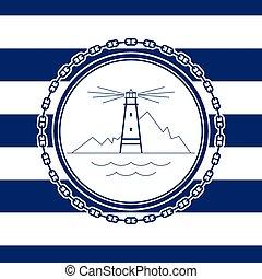 emblème, mer, phare