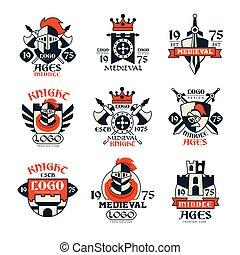 emblème, moyen-âge, ensemble, vendange, âges, milieu, vecteur, conception, illustrations, logo