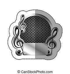 emblème, musique, plaque, icône