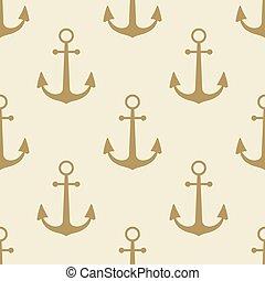 emblème, naval, vendange, symbole, collection, étiquette, modèle fond, ancre, mer