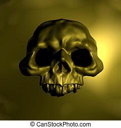 emblème, or, crâne, illustration